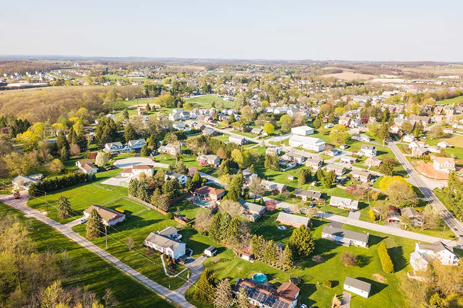 Elysburg PA - Aerial View Of Small Town Elysburg Pennsylvania
